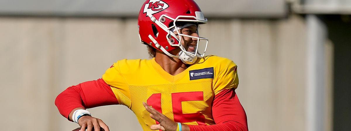 FILE - Kansas City Chiefs quarterback Patrick Mahomes throws a pass during NFL football training camp Friday, Aug. 21, 2020, in Kansas City, Mo.