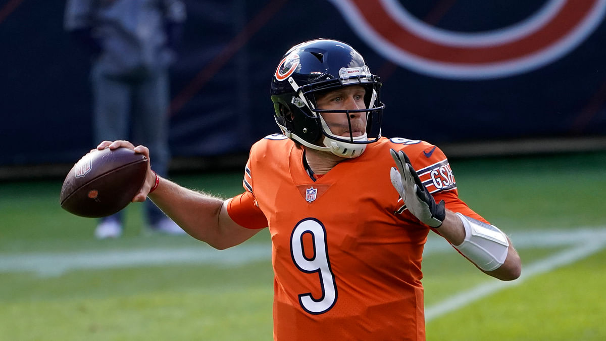 Chicago Bears quarterback Nick Foles (9) throws during the first half of an NFL football game against the Indianapolis Colts, Sunday, Oct. 4, 2020, in Chicago.