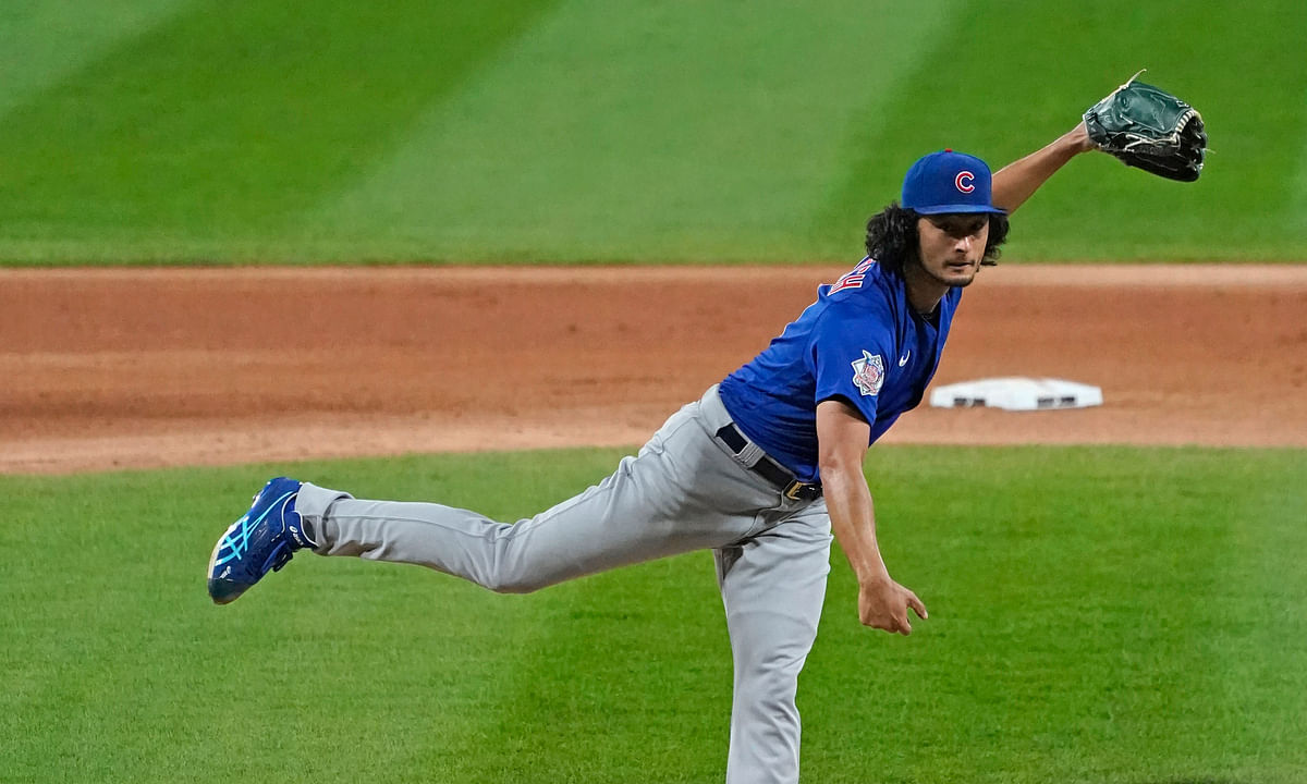 Chicago Cubs starting pitcher Yu Darvish, of Japan, throws the ball against the Chicago White Sox during the fourth inning of a baseball game in Chicago, Friday, Sept. 25, 2020. (AP Photo/Nam Y. Huh)