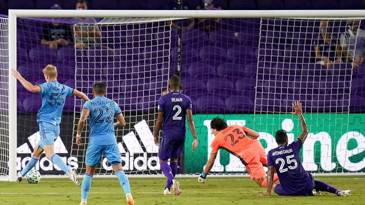 New York City FC midfielder Keaton Parks, far left, score a goal against Orlando City during the first half of an MLS soccer match, Wednesday, Oct. 14, 2020, in Orlando, Fla.