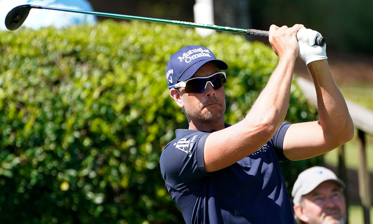 Henrik Stenson of Sweden watches his drive from the first tee during the first round of the Sanderson Farms Championship golf tournament in Jackson, Miss., Thursday, Oct. 1, 2020.