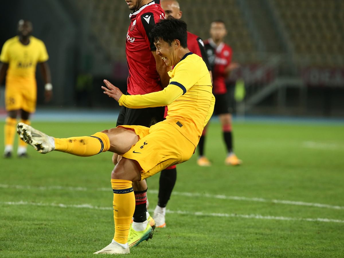 Tottenham's Son Heung-min, scores the second goal of his team during a Europa League third qualifying round soccer match between Shkendija and Tottenham at the National Arena Todor Proeski in Skopje, North Macedonia, Thursday, Sept. 24, 2020.