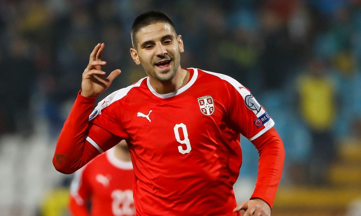 Aleksandar Mitrović of Serbia in action