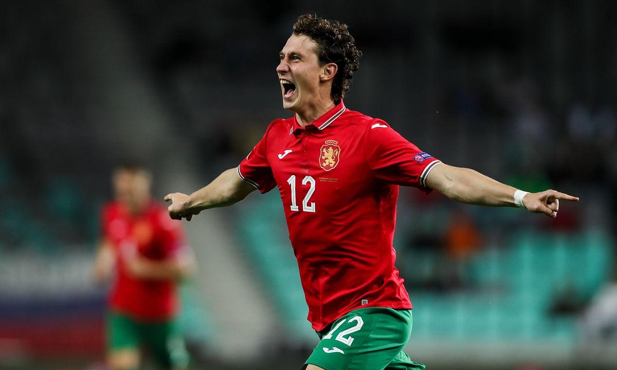 Bozhidar Kraev of Team Bulgaria celebrating after a goal