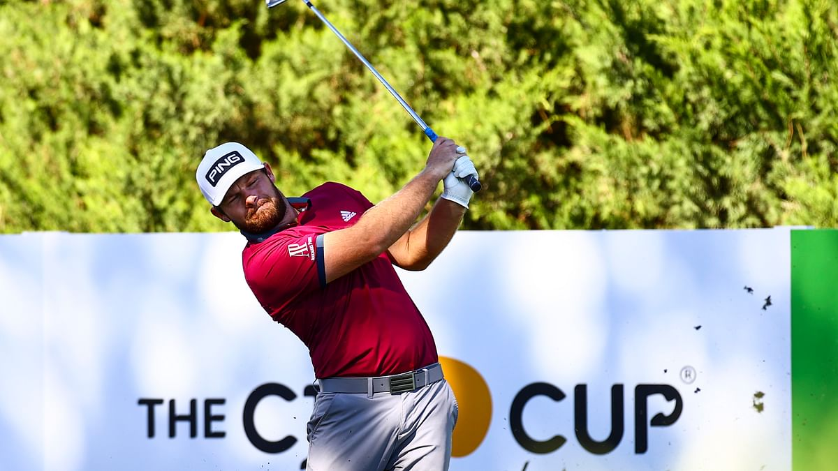 Tyrrell Hatton tees off at the fifth hole during the first round of the CJ Cup golf tournament at Shadow Creek Golf Course, Thursday, Oct. 15, 2020, in North Las Vegas.