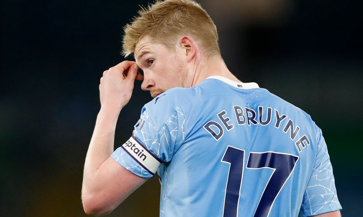 Manchester City's Kevin De Bruyne looks round at his teammates during their English Premier League soccer match between Manchester City and West Bromwich Albion at the Etihad Stadium in Manchester, England, Tuesday, Dec., 15 2020.