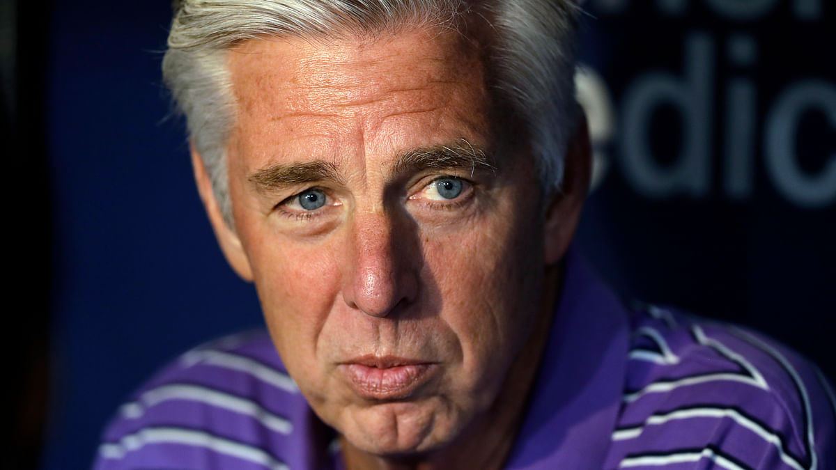 In this April 19, 2019, file photo, Boston Red Sox general manager Dave Dombrowski talks before the team's baseball game against the Tampa Bay Rays in St. Petersburg, Fla. The Philadelphia Phillies have hired Dombrowski as president of baseball operations, according to two people familiar with the decision. The people spoke to The Associated Press on condition of anonymity because the team hasn't announced the hiring.