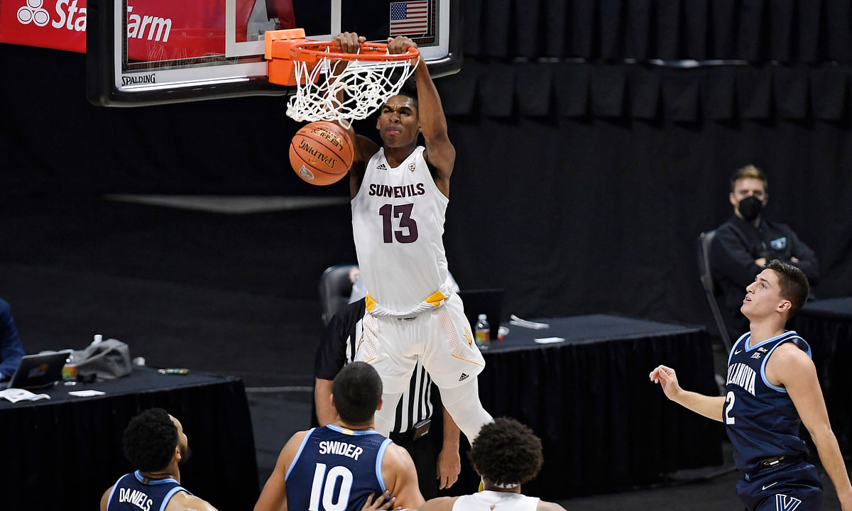 Arizona State's Josh Christopher (13) dunks during the first half of the team's NCAA college basketball game against Villanova, Thursday, Nov. 26, 2020, in Uncasville, Conn. Tonight, Arizona St. faces California at 10 pm EST.