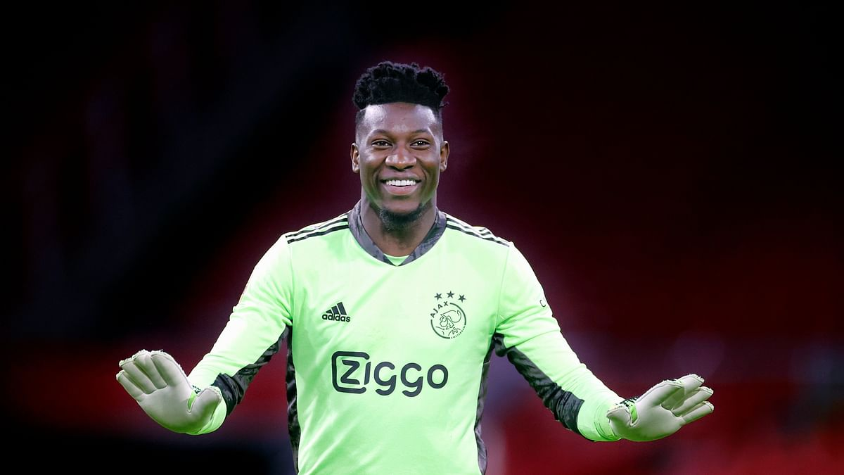AFC Ajax goalie Andrey Onana in action