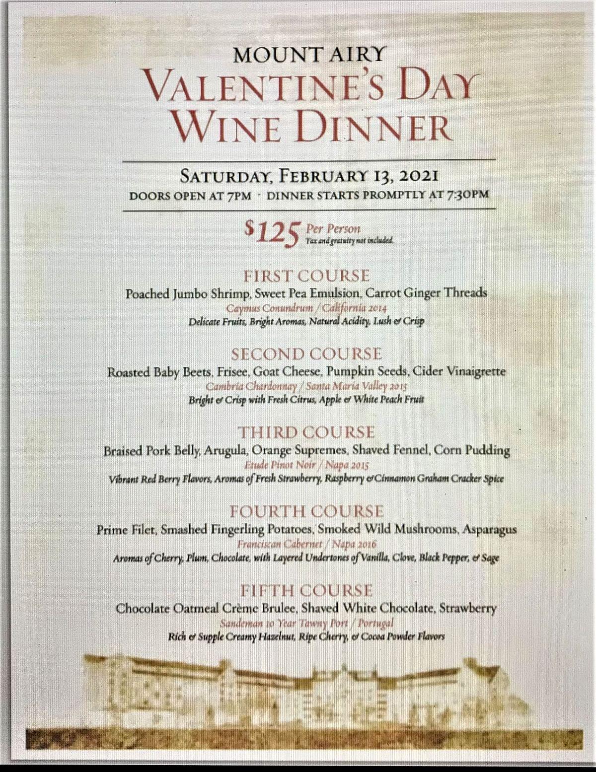 The Mount Airy Casino Resort 2021 Valentine's Day Wine Dinner Menu