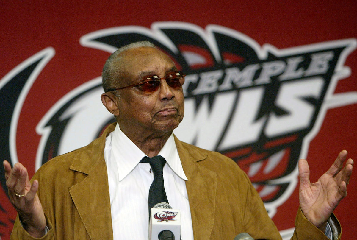 FILE - Temple basketball coach John Chaney gestures while speaking about his retirement at a news conference in Philadelphia, in this Monday, March 13, 2006,