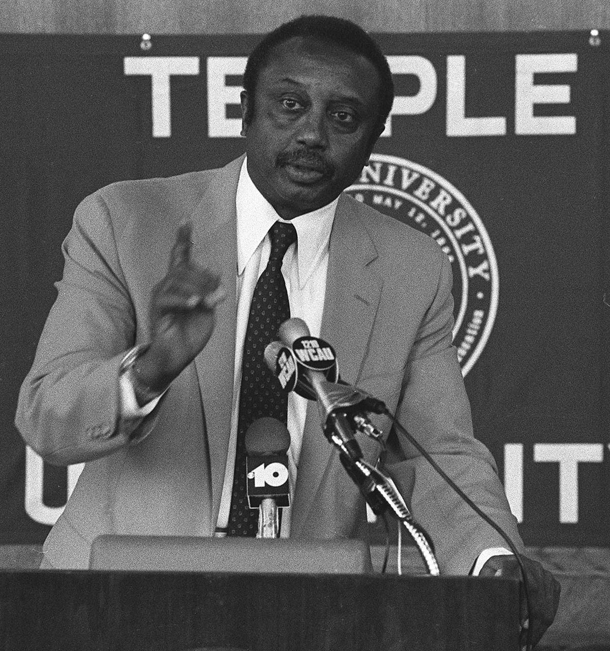 FILE - In this Aug. 18, 1982, file photo, John Chaney speaks during a news conference at Temple University in Philadelphia, the day after being named their NCAA college basketball head coach.