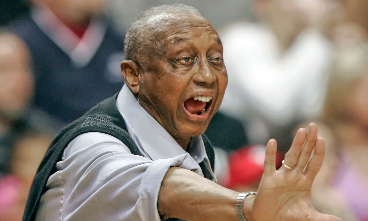 FILE - In this Feb. 25, 2006, file photo, Temple head coach John Chaney yells directions to his players during the the first half of an NCAA college basketball game against Duke in Philadelphia, Chaney, one of the nation's leading Black coaches and a commanding figure during a Hall of Fame basketball career at Temple, died this past week at 89.