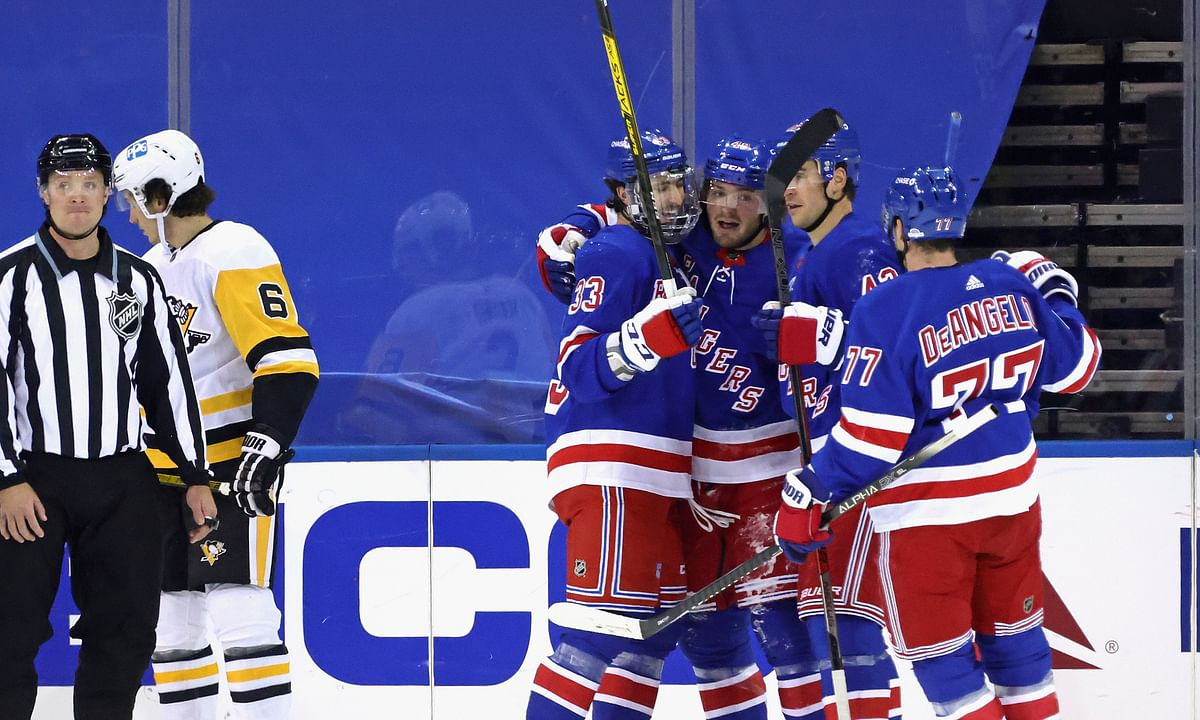 If the New York Rangers are celebrating a goal, it probably occurred in the 2nd period.