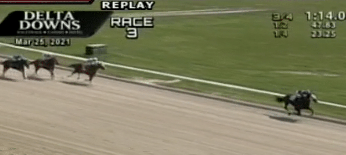 Delta Downs Race 3, March 25, 2021. If you're going to win a first race, do it in style.