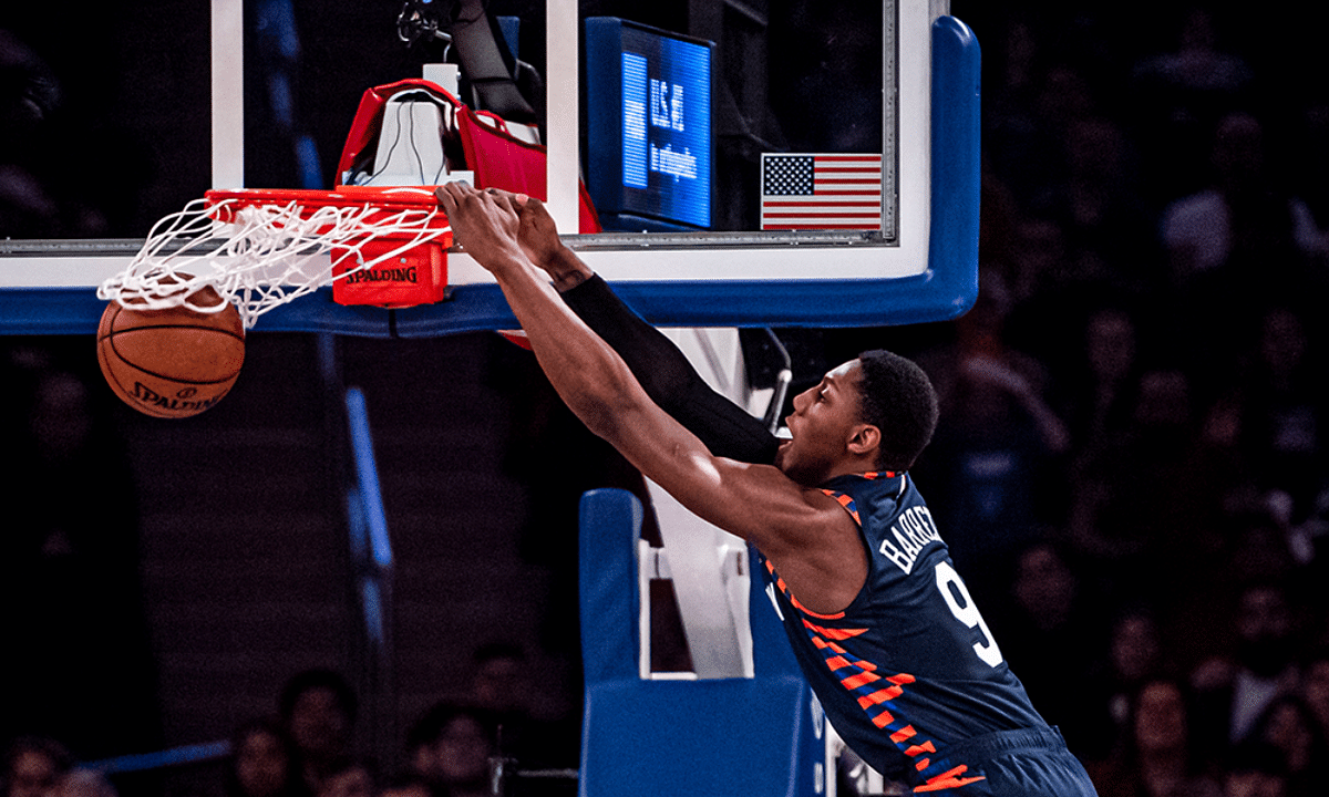 RJ Barrett dunking for the Knicks.