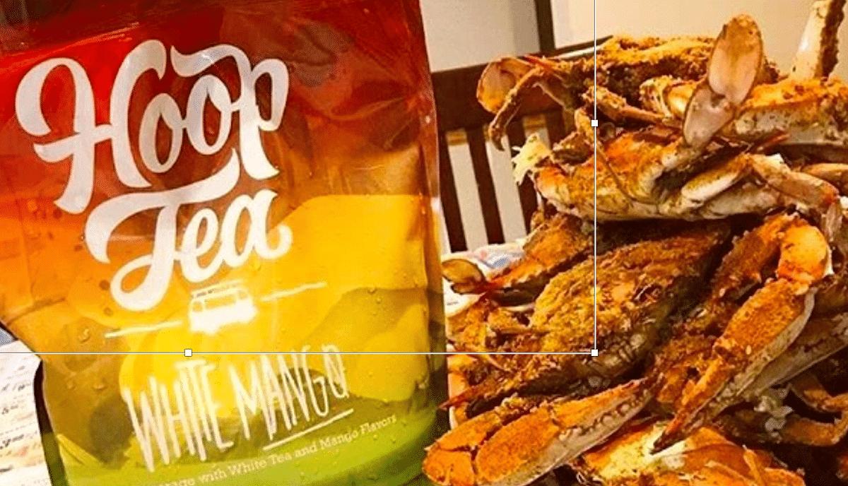 White Mango Hoop Tea w/Maryland Steamed Crabs. Deeee Lish.