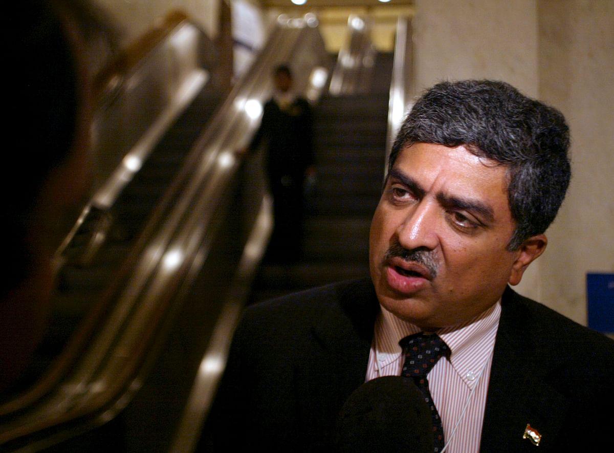 Former UIDAI Chairman Nandan M Nilekani speaks to a reporter. (Photographer: Amit Bhargava/Bloomberg News)