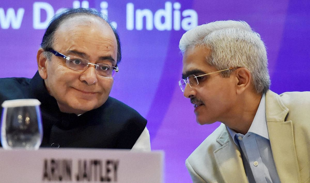 Union Finance Minister Arun Jaitley and Shaktikanta Das, Secretary (Economic Affairs) during the BRICS India 2016 Seminar (Source: PTI)