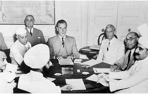 The United Kingdom's viceroy to India Lord  Mountbatten meets Jawaharlal Nehru, Muhammad Ali Jinnah and other Indian leaders to plan the partition of India in 1947. (Image: Wikimedia Commons)