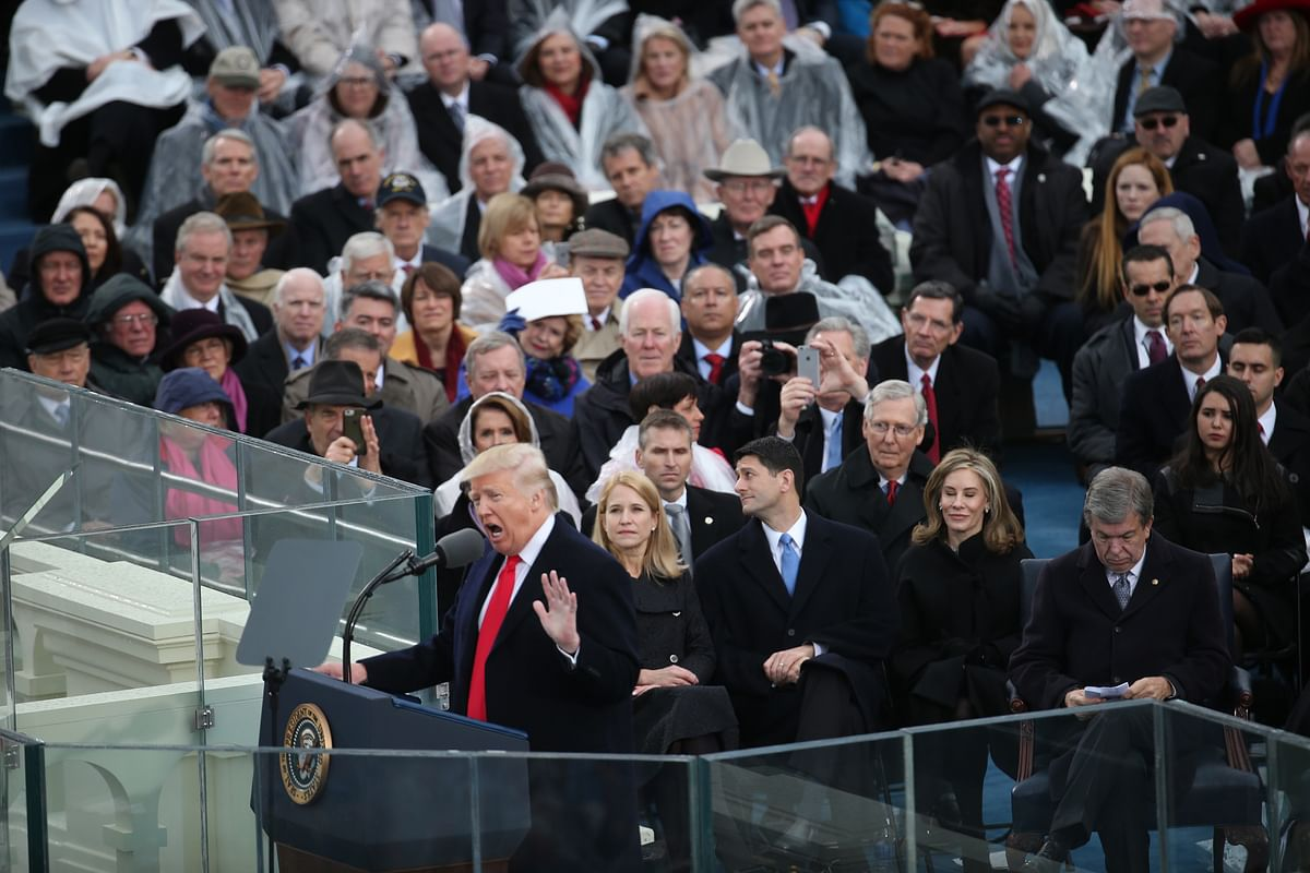U.S. President Donald Trump speaks during the 58th presidential inauguration in Washington, D.C., U.S., on January 20, 2017. (Photographer: Andrew Harrer/Bloomberg)