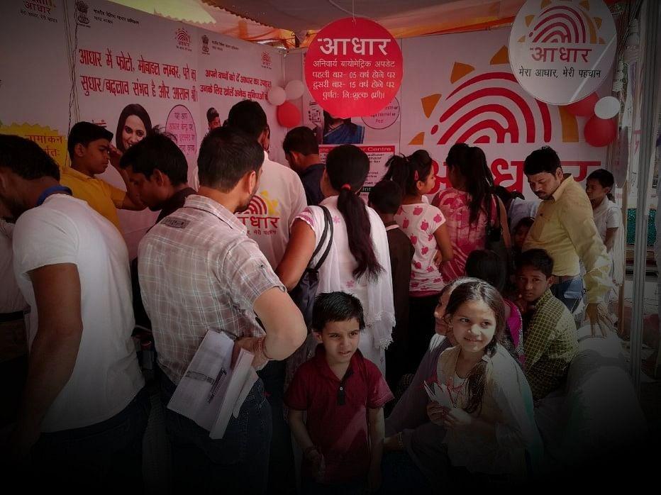 People wait in queue at an Aadhaar camp in Agra, India. (Source: Twitter/ @UIDAI)