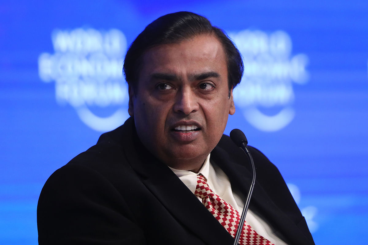 Mukesh Ambani, billionaire, chairman and managing director of Reliance Industries, pauses during a panel session at the World Economic Forum (WEF) in Davos, Switzerland. (Photographer: Simon Dawson/Bloomberg)