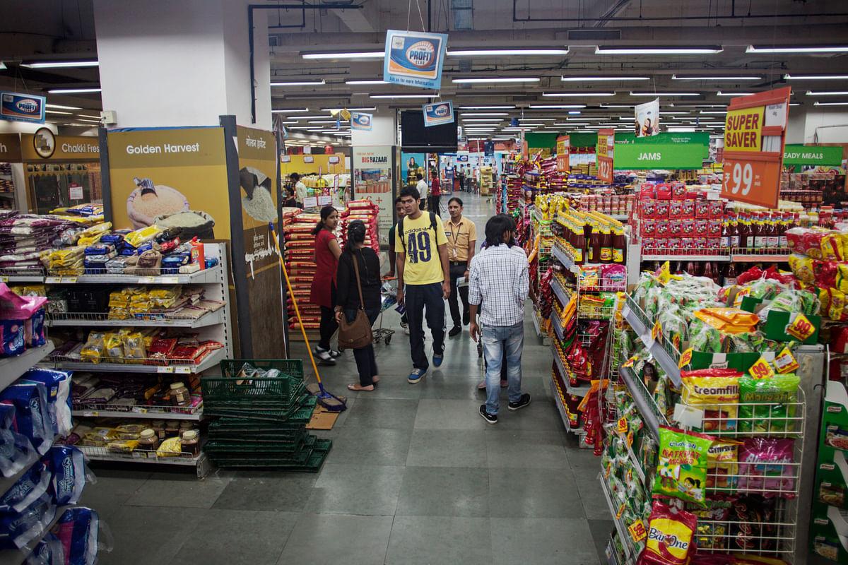 Customers shop at the Big Bazaar, Hypermarket store, in Noida, UttarPradesh, India (Prashanth Vishwanathan/Bloomberg News)