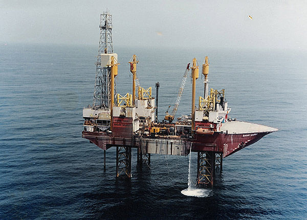 Drill-Ship Sagar Samrat at work in Mumbai High (Source: ONGC Website)