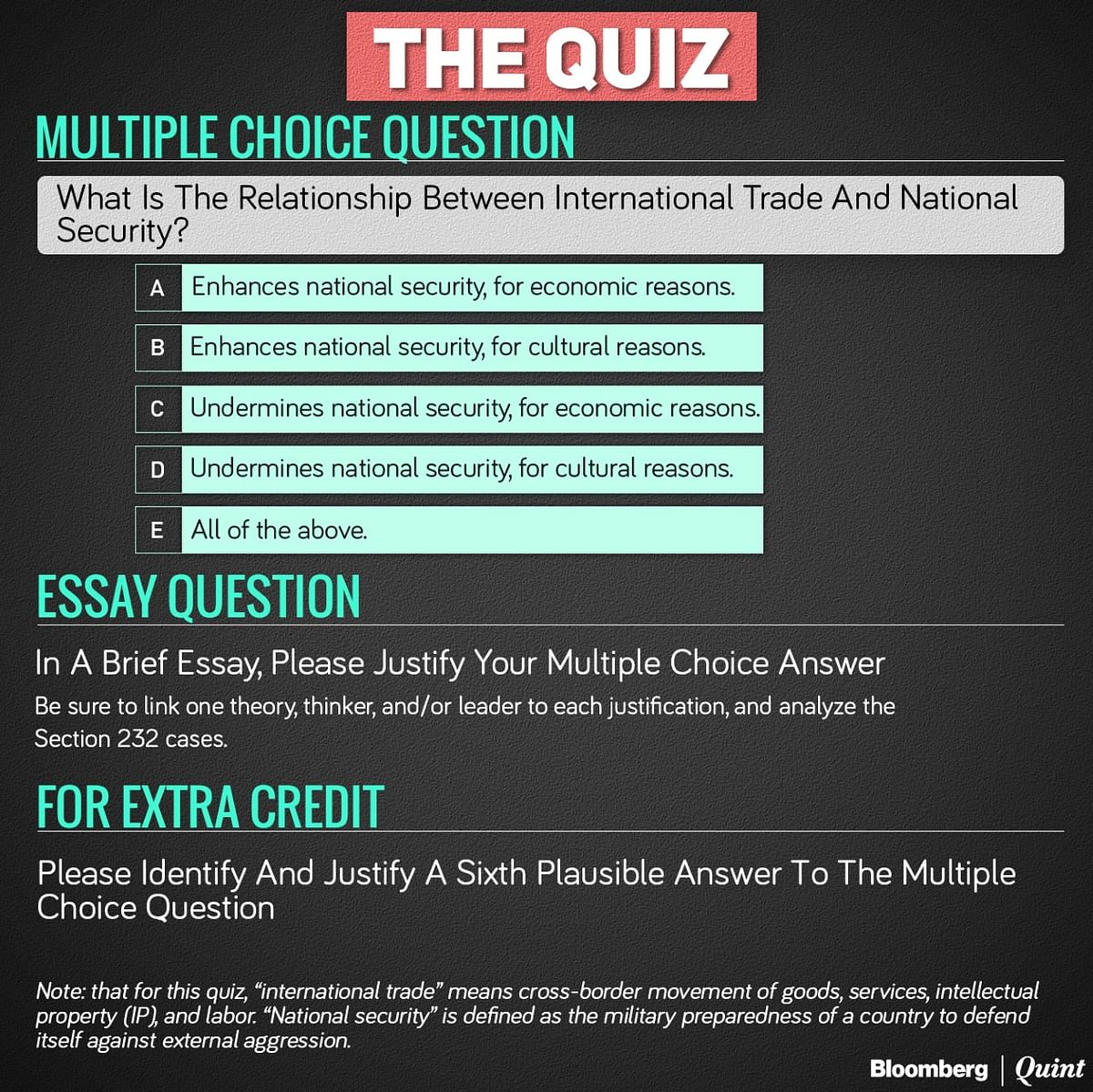 A Quiz On International Trade And National Security