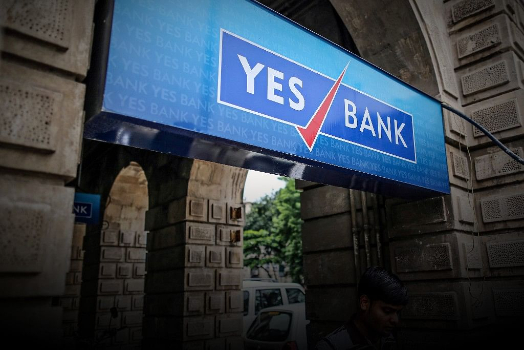 Yes Bank Board In Fort, Mumbai (Photograph: Dhiraj Singh/Bloomberg)