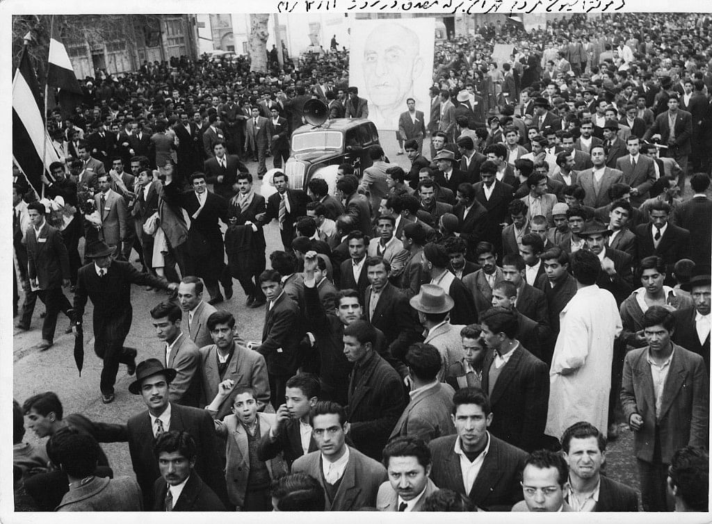 A pro-Mohammad Mosaddegh demonstration in Tehran, Iran, in 1952. (Photograph: Wikimedia Commons)