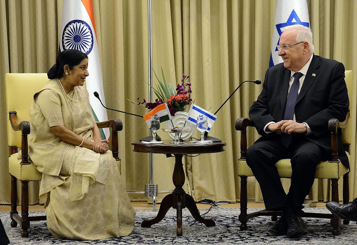 Israel's President Reuven Rivlin with India's External Affairs Minister Sushma Swaraj in Jerusalem, Israel on January 18, 2016. (Source: Wikimedia Commons/Spokesperson unit of the President of Israel)
