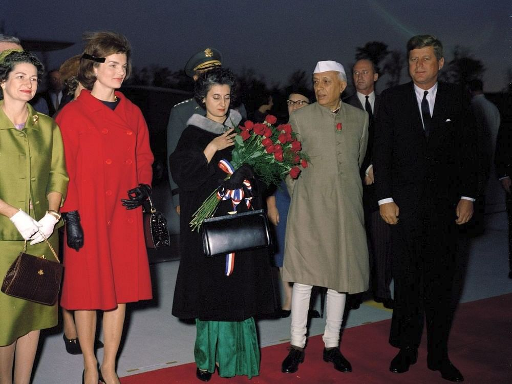 U.S. President John F Kennedy hosts arrival ceremonies for the Prime Minister of India Jawaharlal Nehru at the Andrews Air Force Base, Maryland, U.S., on November 6, 1961. (Photograph: Wikimedia Commons)