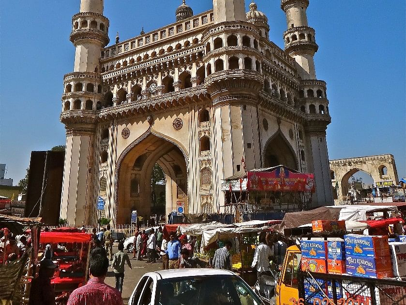 The market around the Charminar, in Hyderabad, India. (Photograph: Raj Bhala)