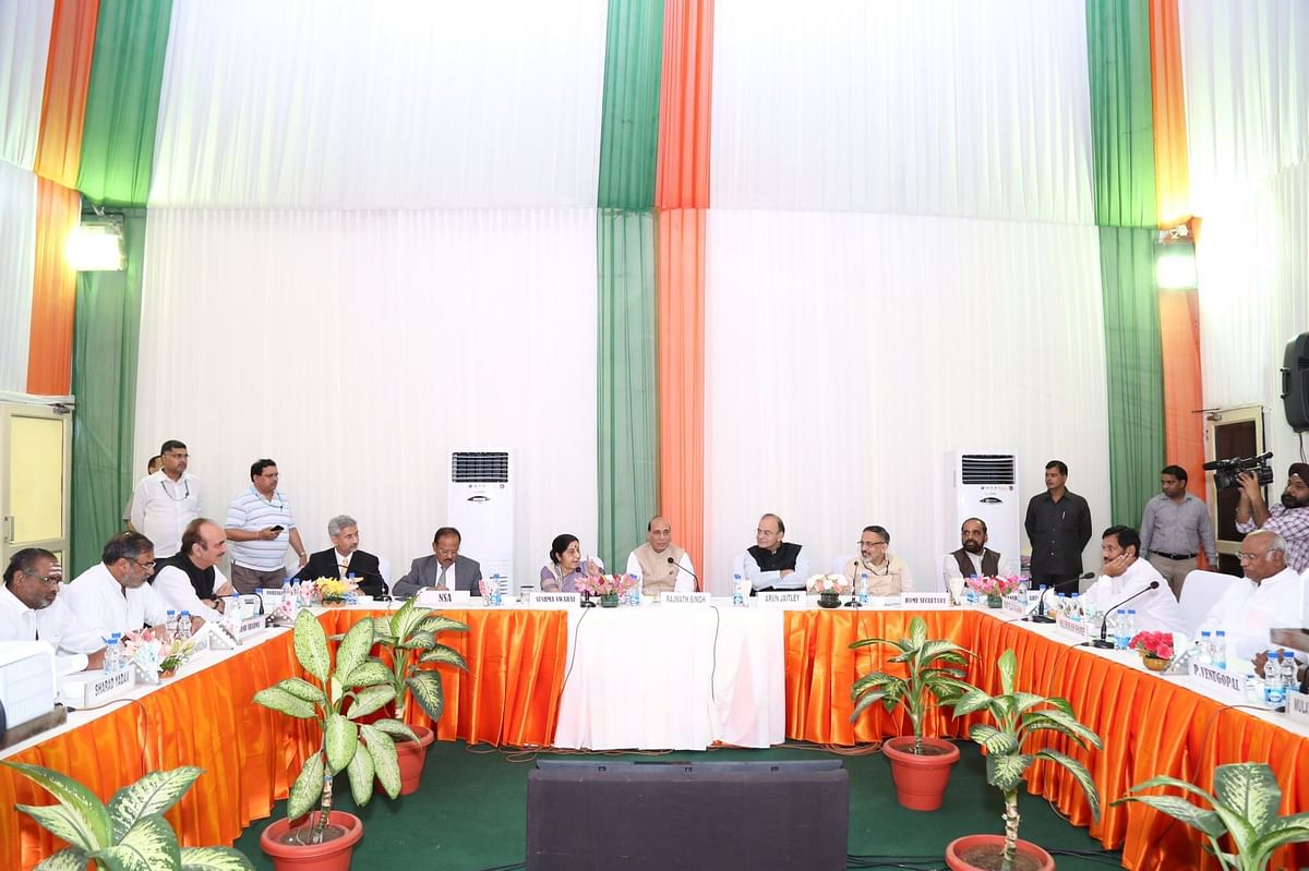 Union Minister for Home Affairs Rajnath Singh chairs an all-party meet on the Doklam standoff between India and China, on July 14, 2017. (Photograph: @HMOIndia/Twitter)