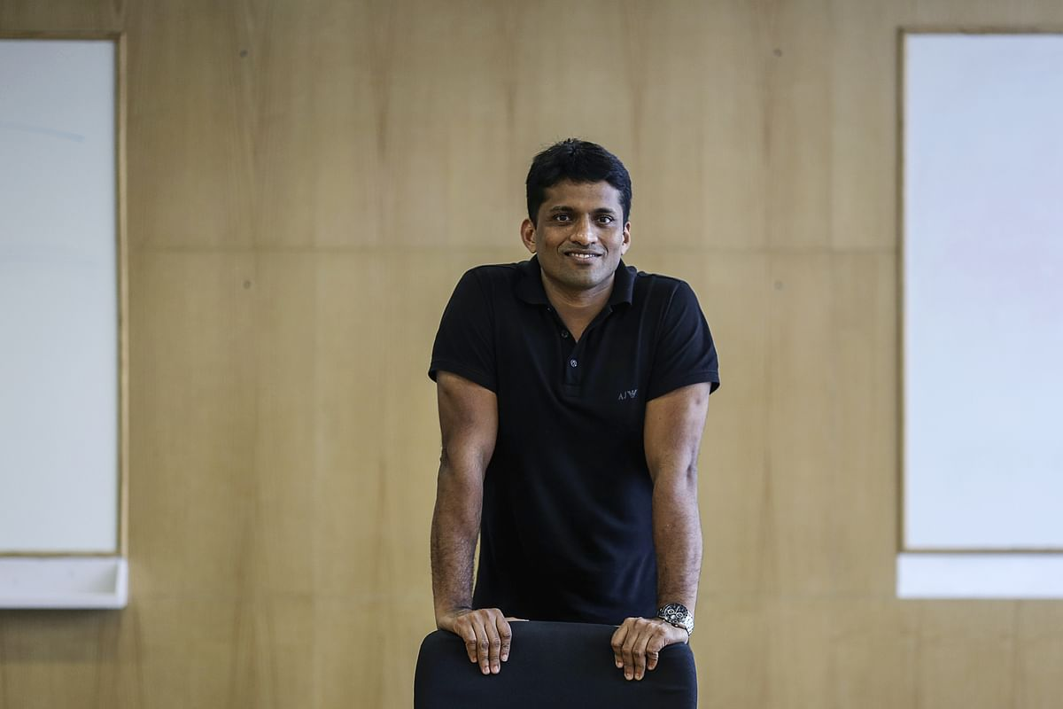 Byju Raveendran, founder and chief executive officer of Think and Learn Pvt. Ltd.,  at the company's office in Bengaluru. Photographer: Dhiraj Singh/Bloomberg