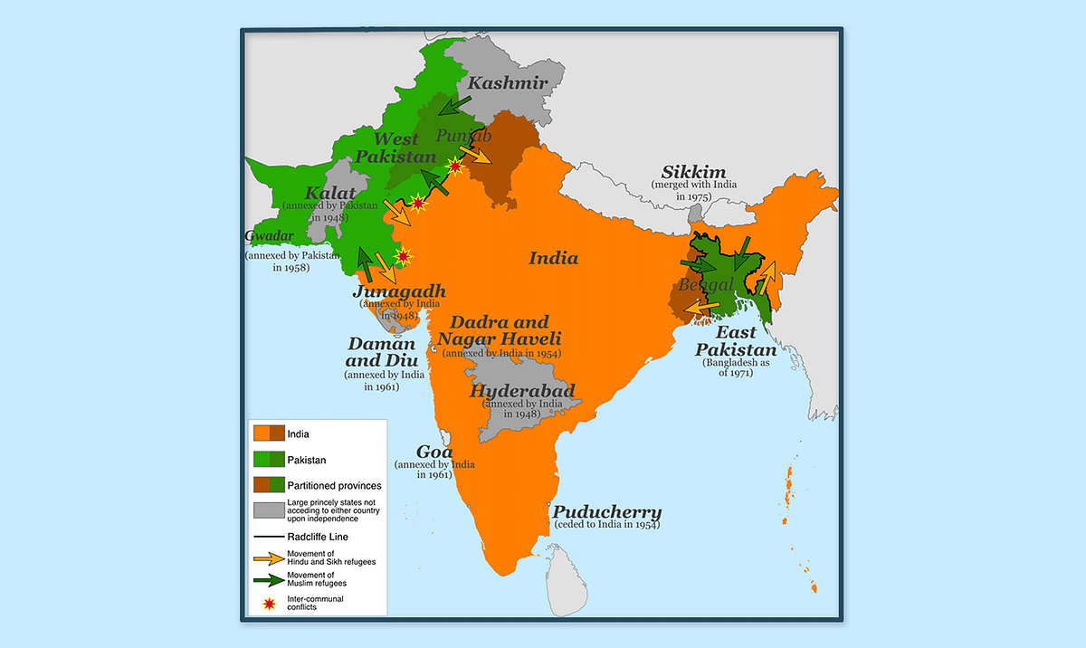 A map showing the Radcliffe Line across Punjab, and the movement of refugees at the time of the partition of the Indian Subcontinent in 1947. (Image: Wikimedia Commons)