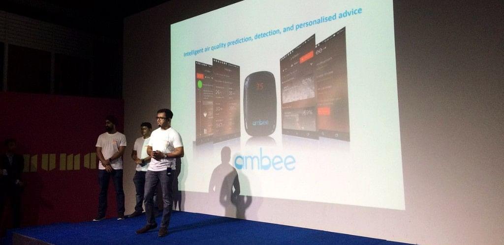 Ambee founders making a pitch back in July. (Source: NUMA Bengaluru/ Twitter)