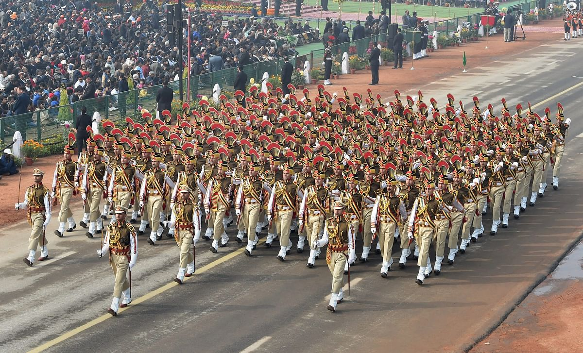 Marching contingent of Delhi Police during 69th Republic Day Parade at Rajpath in New Delhi. (Image: PTI)