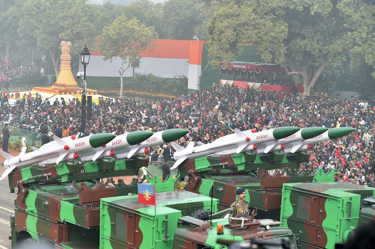 A display of Akash weapon system at Rajpath during the 69th Republic Day Parade, in New Delhi. (Image: PTI)