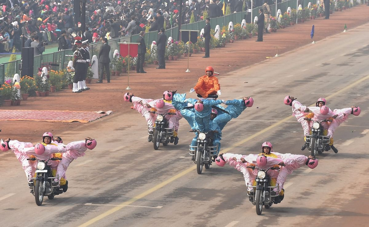BSFs all-women team Seema Bhawani performs on motorcycles during 69th Republic Day Parade at Rajpath in New Delhi on Friday. (Image: PTI)
