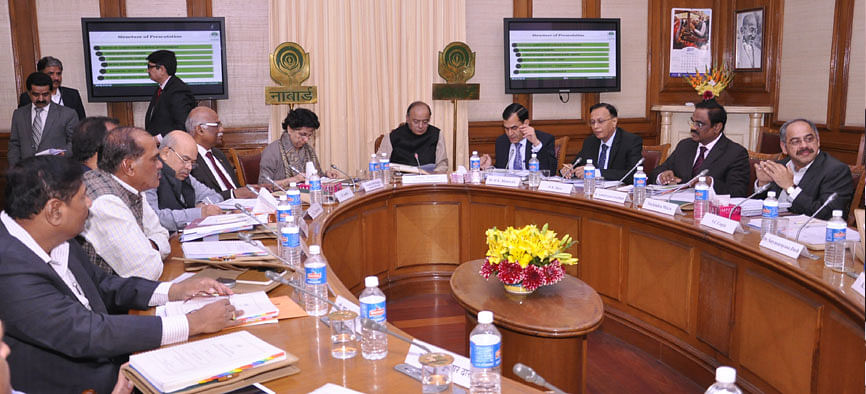 Finance Minister Arun Jaitley addresses the Board of Directors of NABARD at the Ministry of Finance, in New Delhi on March 6, 2017. (Photograph: NABARD)
