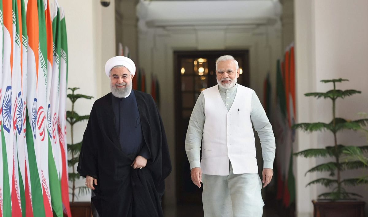 Prime Minister Narendra Modi with Iranian President Hassan Rouhani before a meeting at Hyderabad House in New Delhi. (Photograph: PIB)