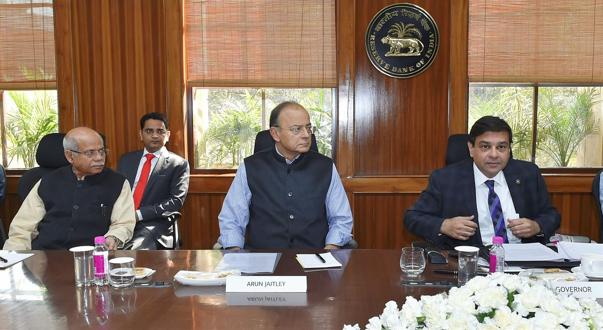 Minister of State for Finance Shiv Pratap Shukla (left), Finance Minister Arun Jaitley, and RBI Governor Urjit Patel during the 569th Central Board Meeting of RBI  on February 10. (Photographer: Atul Yadav/PTI)