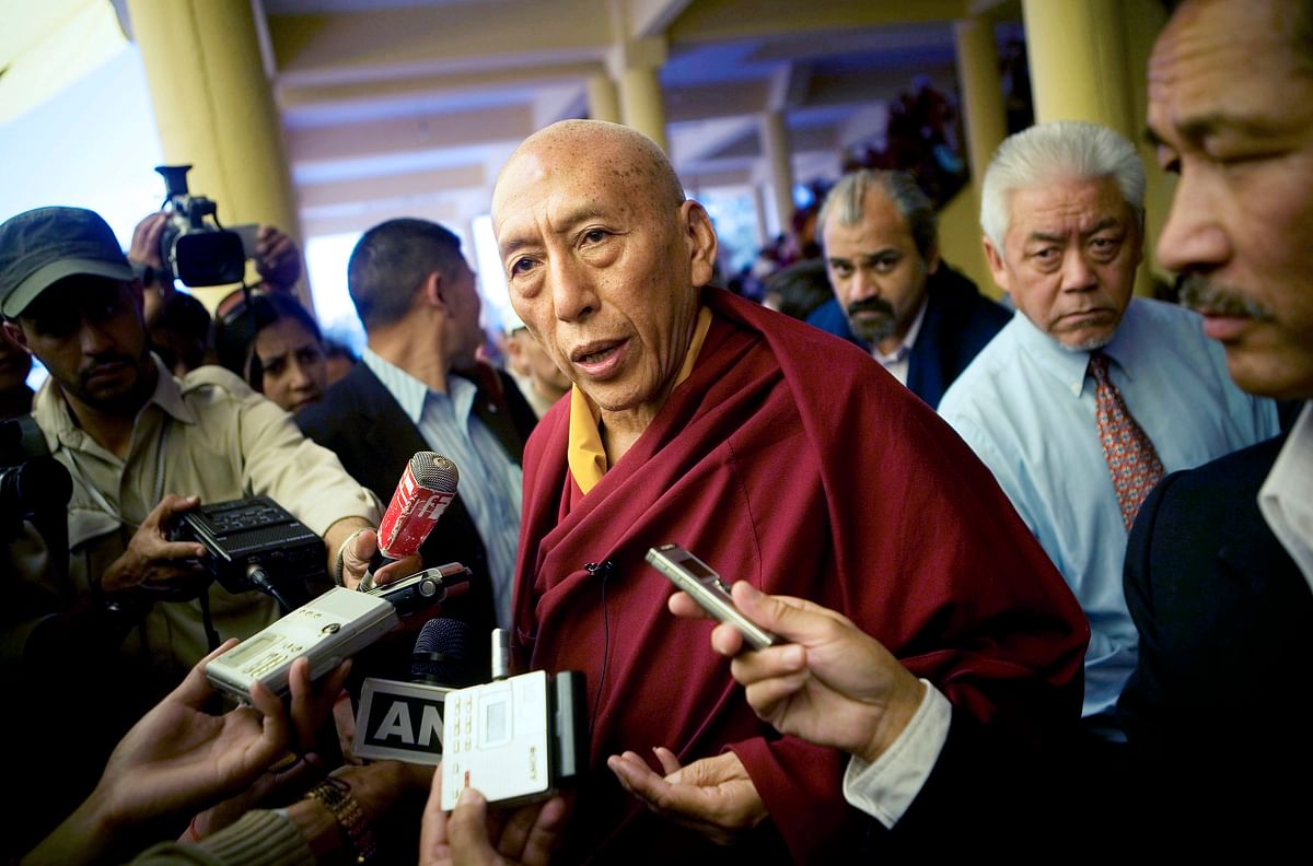 Samdhong Rinpoche, then prime minister of the Tibetan Government in exile, speaks to the media at the Namgyal Temple in Dharamsala, India, on March 22, 2008. (Photographer: Adam Ferguson/Bloomberg News)