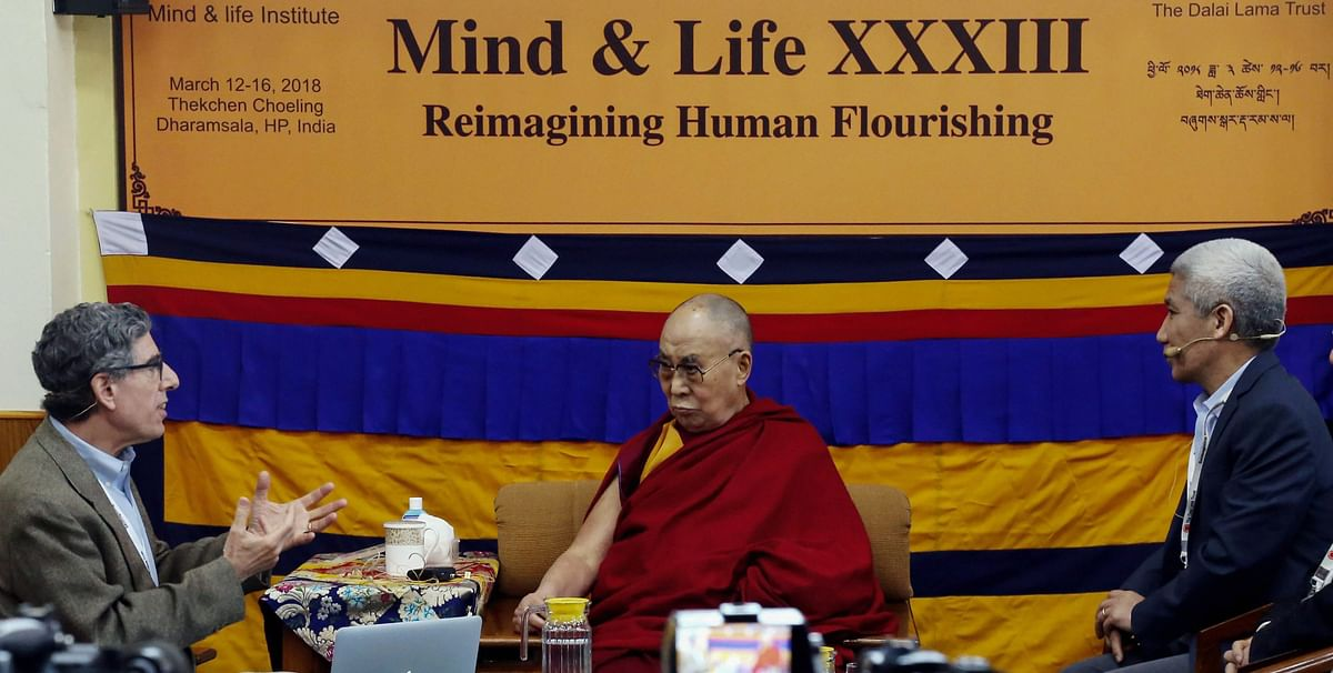 Tibetan spiritual leader Dalai Lama during the morning session of the Mind and Life XXXIII conference at the Tsuglagkhang complex in Dharamshala on March 12, 2018. (Photograph: PTI)