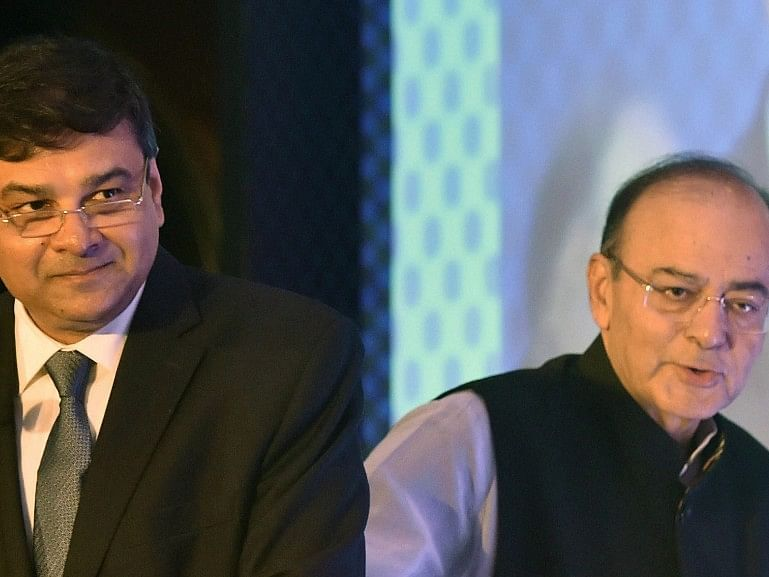 RBI Governor Urjit Patel and Union Finance Minister Arun Jaitley at a conference on 'Insolvency and Bankruptcy: Changing Paradigm', in Mumbai on August 19, 2017. (Photograph: Santosh Hirlekar/PTI)