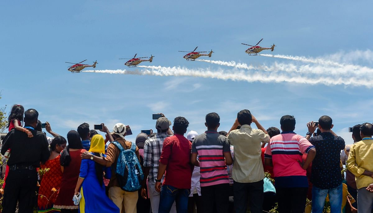 Indian Air Forces Sarang display team stage a live demo. (Source: PTI)