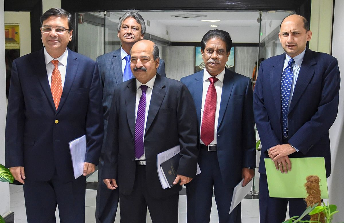 RBI Governor Urjit Patel, RBI deputy Governors NS Vishwanathan, BP Kanungo and  Viral V Acharya arrive for a press conference at RBI headquarters in Mumbai. (Source: Shashank Parade/PTI)